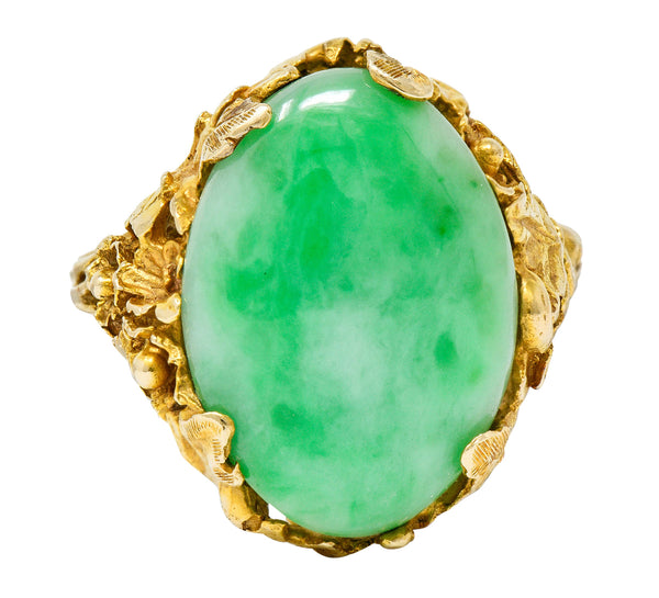 Arts & Crafts Jade 14 Karat Gold Floral & Foliate Ring