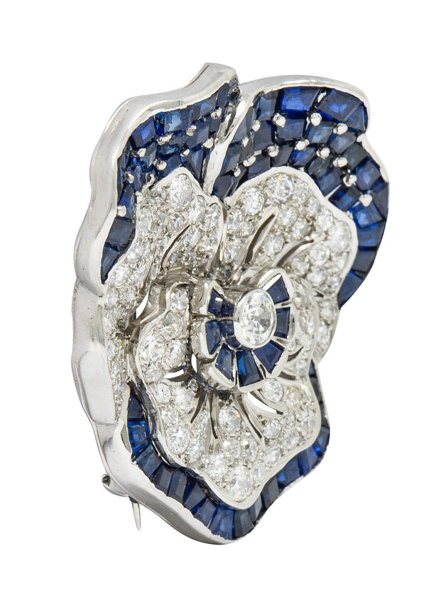 Art Deco 11.62 CTW Sapphire Diamond Platinum Pansy Flower Brooch Attributed to Oscar Heyman