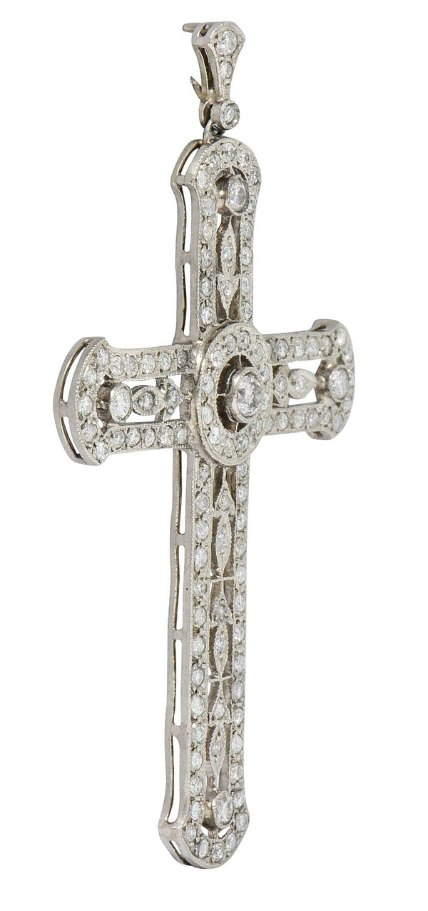 Edwardian 2.05 CTW Diamond Platinum Cross Pendant