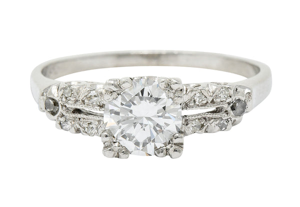 Retro 1.00 CTW Diamond Platinum Fishtail Engagement Ring