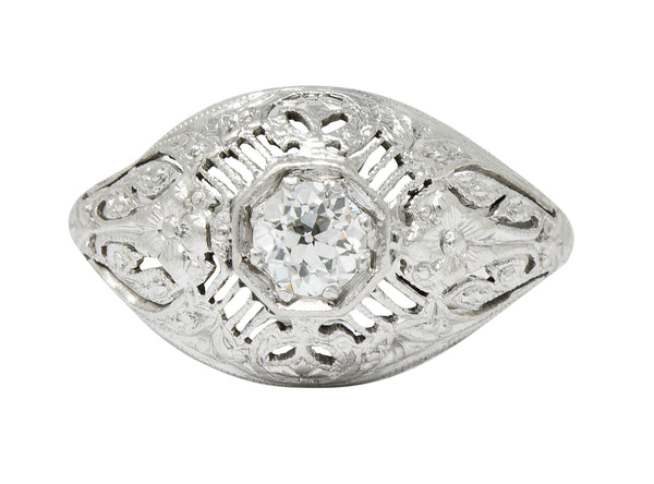 Edwardian Diamond Platinum Floral Engagement Ring