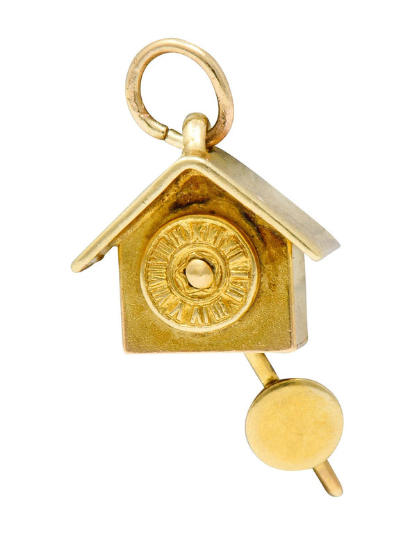 Carl-Art Retro 14 Karat Gold Cuckoo Clock Charm