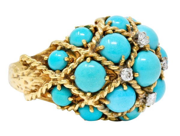 Vintage Turquoise Diamond 14 Karat Gold Cluster Bombe Band Ring
