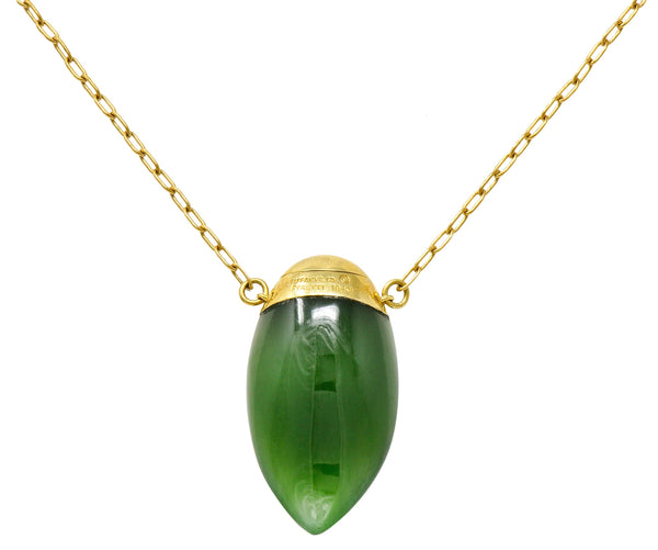 Elsa Peretti Tiffany & Co. Nephrite Jade 18 Karat Gold Perfume Bottle Necklace
