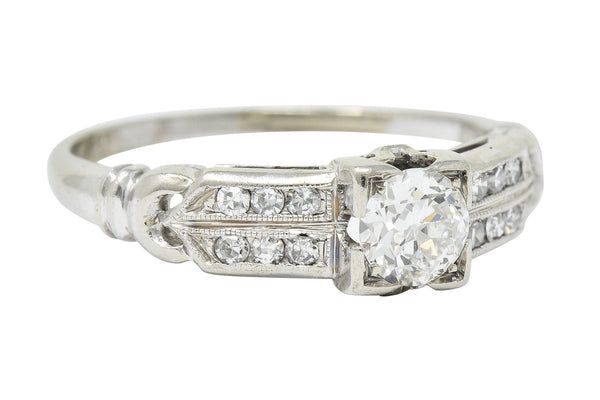 J.R. Wood & Sons Art Deco 0.62 CTW Diamond 18 Karat White Gold Engagement Ring