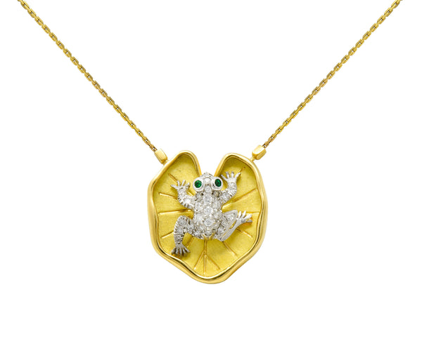 McTeigue Diamond Emerald Platinum 18 Karat Gold Lily Pad Frog Necklace