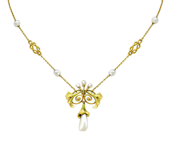 Bippart & Co. Art Nouveau Baroque Pearl Enamel 14 Karat Gold Drop Necklace - Wilson's Estate Jewelry