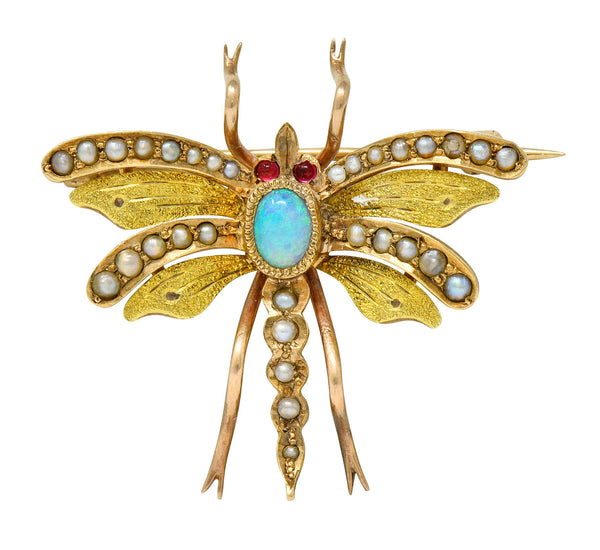 Art Nouveau Opal Pearl 14 Karat Two-Tone Gold Insect Pendant Brooch