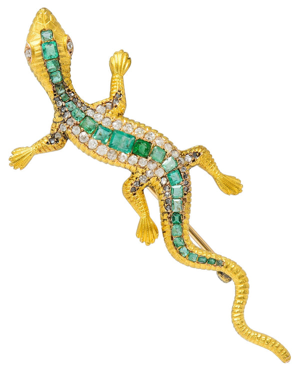 Large Victorian 3.36 CTW Emerald Diamond 18 Karat Gold Lizard Brooch