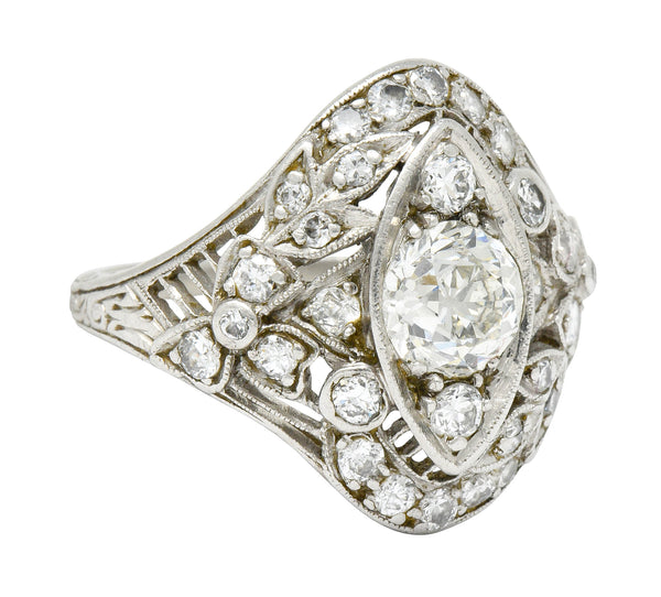 Edwardian 1.68 CTW Diamond Platinum Foliate Navette Dinner Ring - Wilson's Estate Jewelry