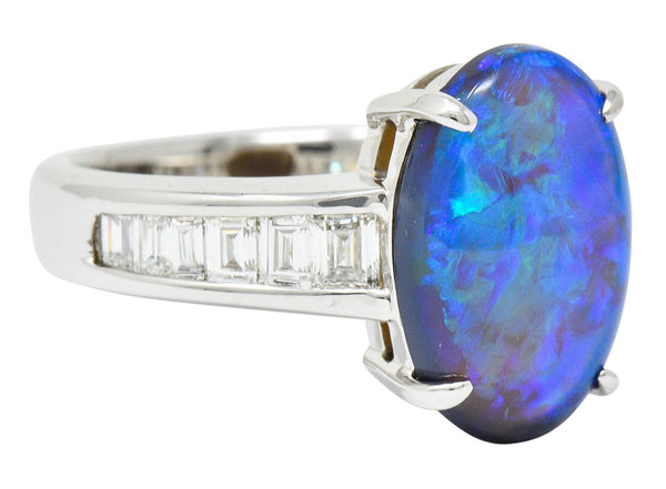 Contemporary Opal 1.27 CTW Diamond Platinum Gemstone Ring