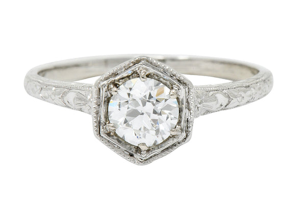 Edwardian 0.65 CTW Diamond Platinum Floral Hexagonal Engagement Ring