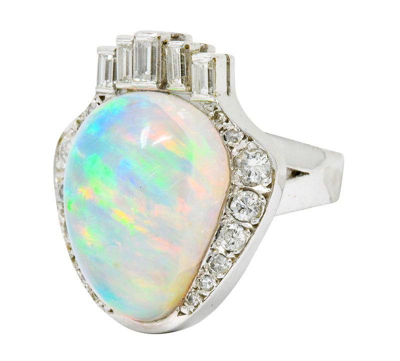 Ethereal Opal Cabochon Diamond 14 Karat White Gold Statement Ring - Wilson's Estate Jewelry