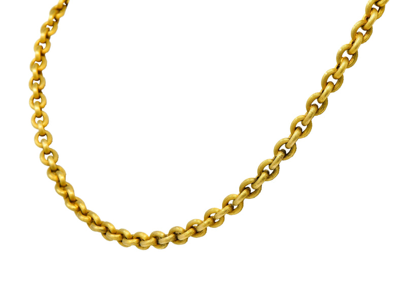 Victorian 18 Karat Gold 19 Inch Cable Chain Necklace