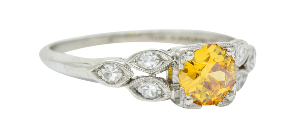 Retro 0.60 CTW Orange-Yellow & White Diamond Platinum Engagement Ring GIA