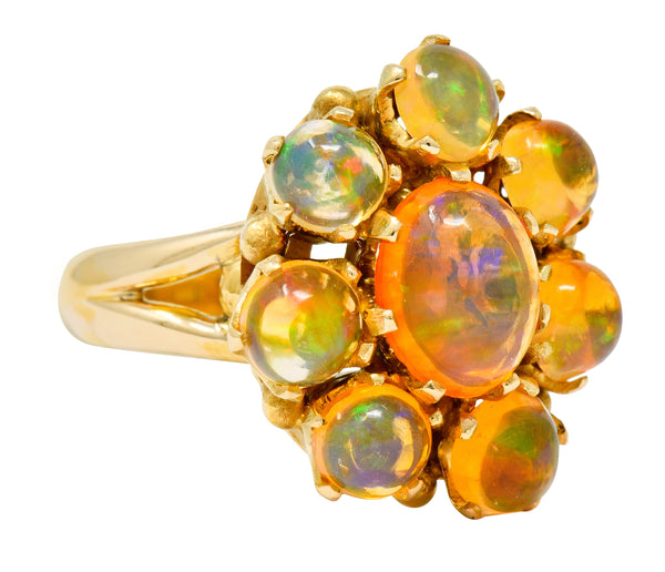 Victorian Mexican Fire Opal 14 Karat Gold Cluster Ring