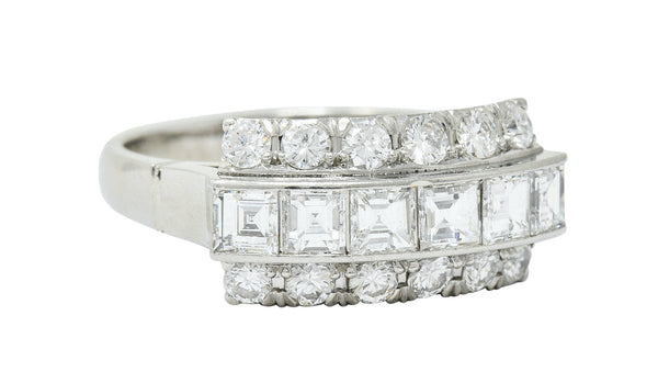 Modern 1.51 CTW Diamond Platinum Three Row Band Ring