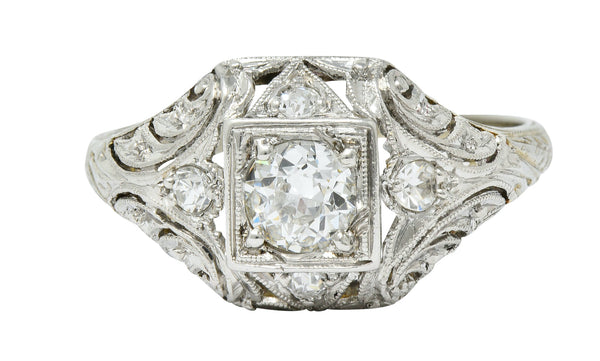 1929 Art Deco 0.45 CTW Diamond Platinum-Topped 18 Karat White Gold Foliate Ring