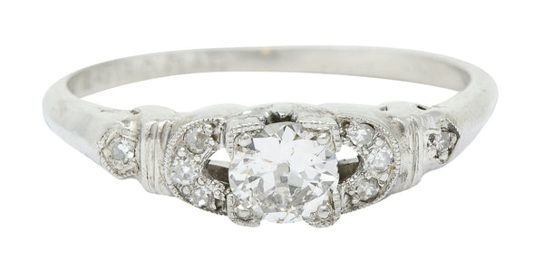 Retro 0.50 CTW Diamond Platinum Buckle Engagement Ring
