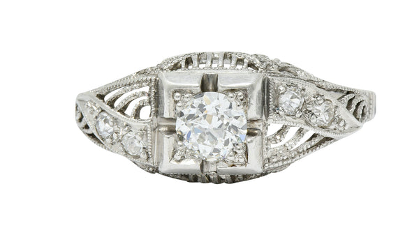 Art Deco 0.45 CTW Diamond Platinum Bombe Engagement Ring
