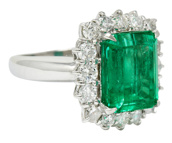 7.70 CTW Colombian Emerald Diamond Platinum Cluster Ring GIA