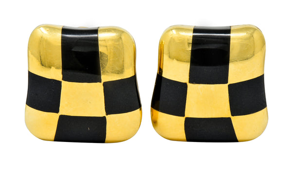 Angela Cummings Enamel 18 Karat Gold Checkerboard Ear-Clip Earrings
