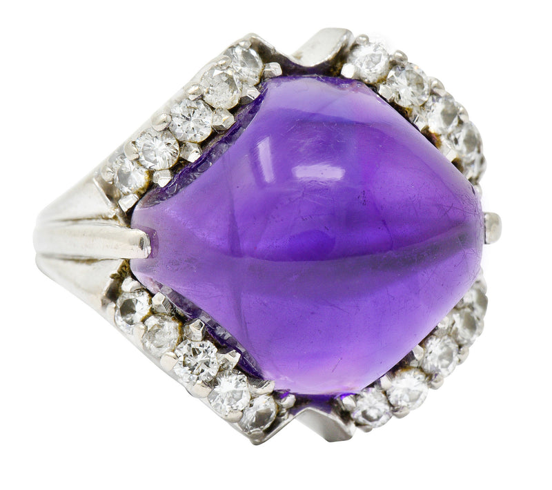 Spritzer & Fuhrmann Vintage Amethyst Diamond 18 Karat White Gold Cocktail Ring