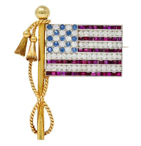 1950's Diamond Sapphire Ruby 18 Karat Gold Platinum American Flag Patriotic Unisex Brooch - Wilson's Estate Jewelry