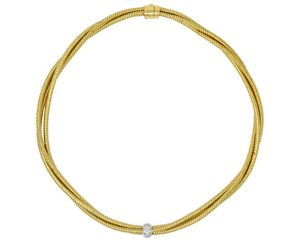 Roberto Coin Diamond 18 Karat Two-Tone Multi-Strand Necklace