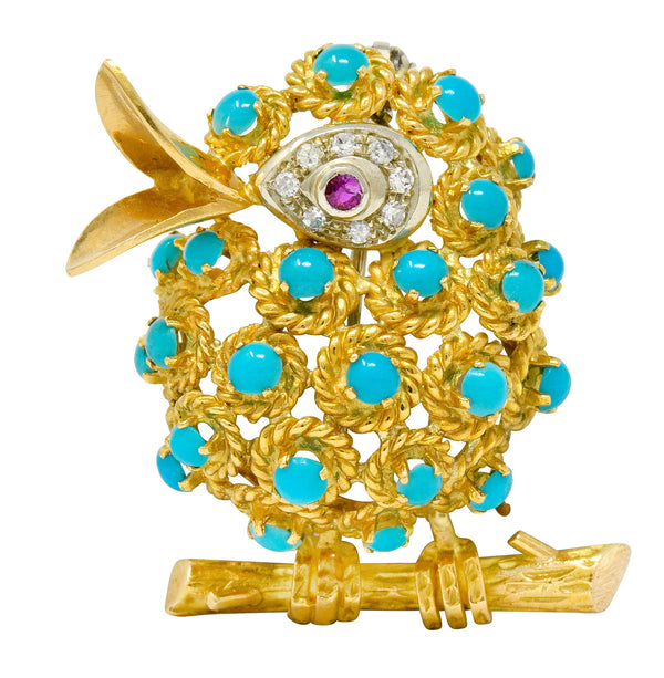1960's Vintage Turquoise Diamond Ruby 18 Karat Gold Singing Bird Brooch