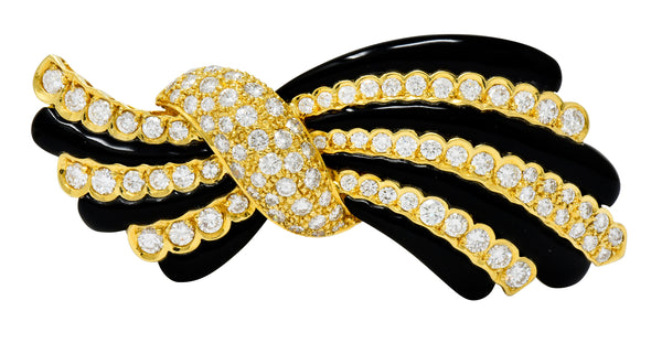 1970's Vintage 5.55 CTW Diamond Onyx 18 Karat Gold Striped Bow Brooch