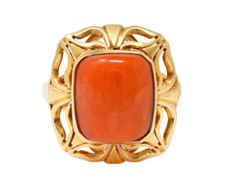 Retro Coral Cabochon 14 Karat Gold Floral Statement Ring