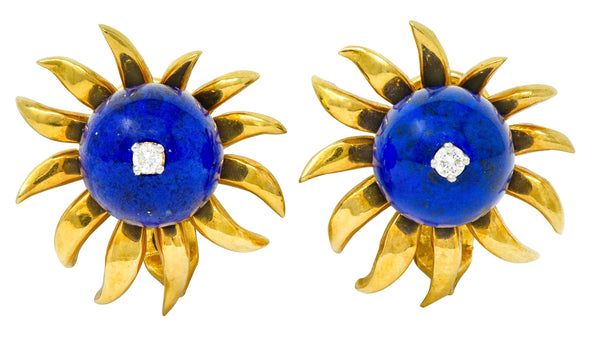 Schlumberger Tiffany & Co. Lapis Diamond 18 Karat Gold Floral Ear-Clip Earrings