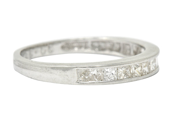 Contemporary Diamond Platinum Channel Anniversary Band Ring