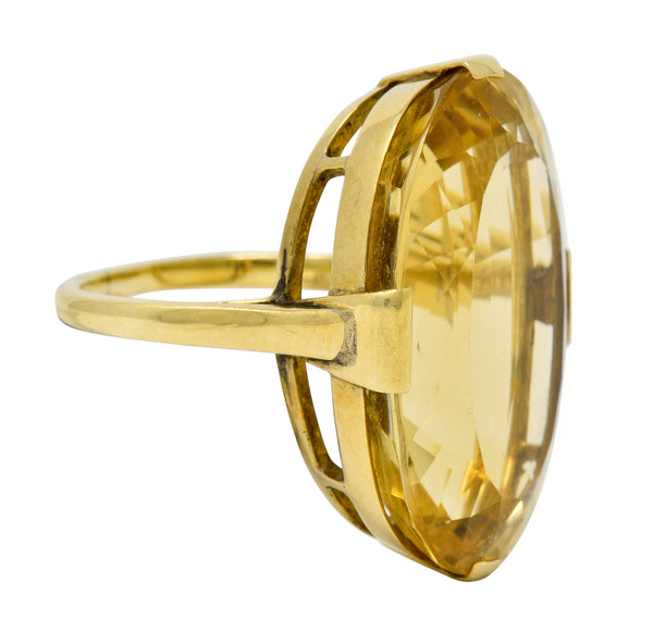 1940's Retro Citrine 14 Karat Gold Gemstone Statement Ring