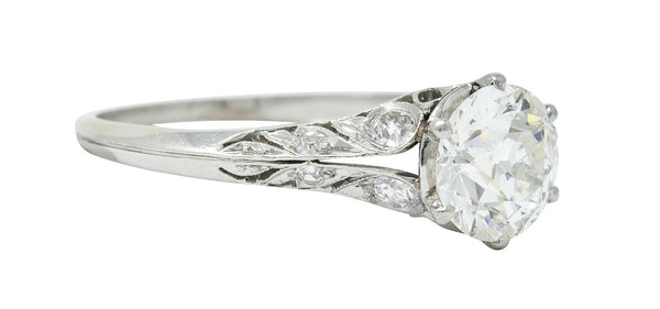 Early Art Deco 1.58 CTW Diamond Platinum Lotus Engagement Ring