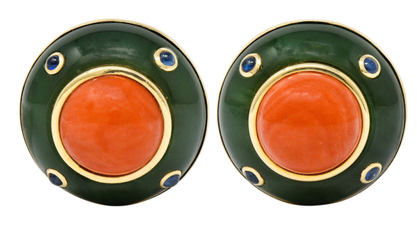 1990's Trianon Coral Jade Sapphire 14 Karat Gold Vintage Ear-Clip Earrings