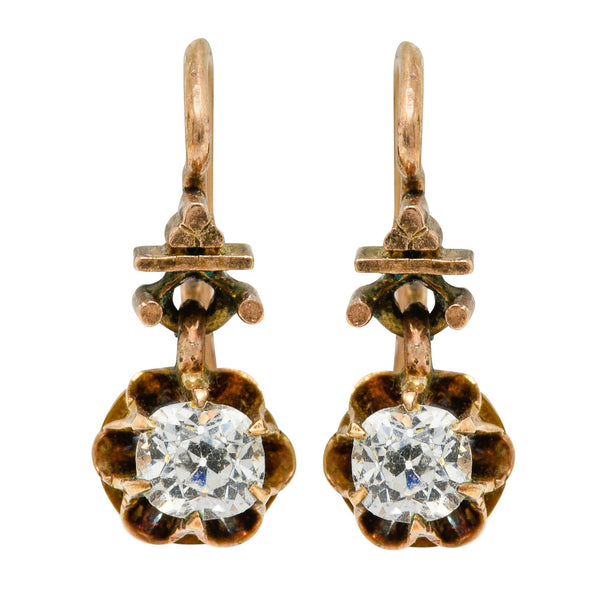 Victorian 0.84 CTW Old Mine Diamonds 14 Karat Gold Belcher Drop Earrings