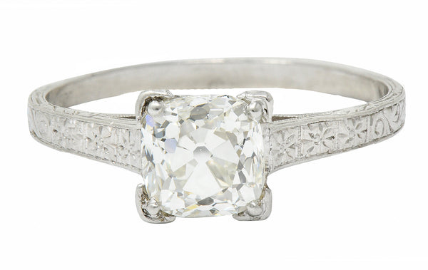 Art Deco 1.08 CTW Old Mine Diamond Platinum Engagement Ring GIA