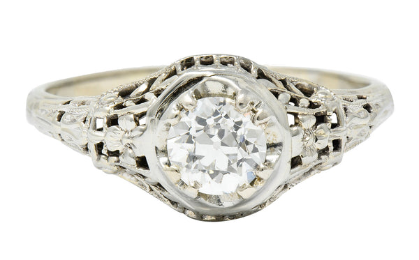 1920's Art Deco 0.65 CTW Diamond 18 Karat Gold Foliate Engagement Ring