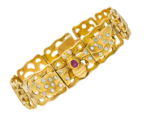 Art Nouveau Ruby Diamond 14 Karat Gold Bee Link Bracelet