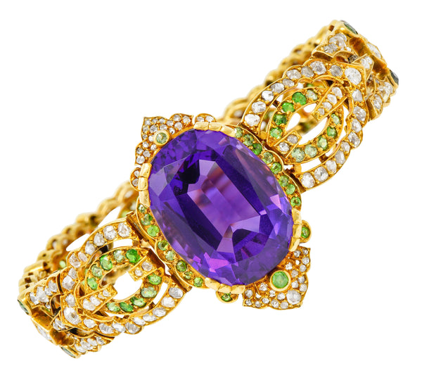 Suffragette Amethyst Demantoid Garnet Diamond 18 Karat Gold Decorous Bracelet