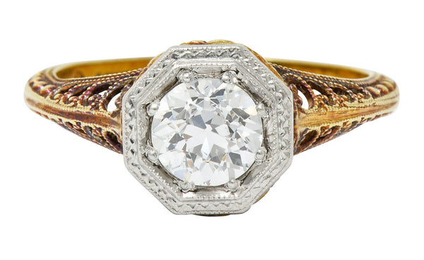 Edwardian 0.64 CTW Diamond Platinum-Topped 14 Karat Gold Filigree Engagement Ring