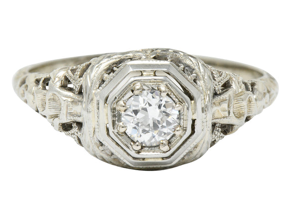 Late Edwardian Diamond 18 Karat White Gold Engagement Ring