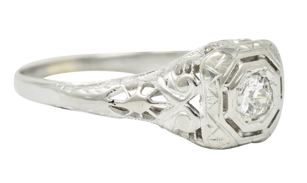 Edwardian Diamond 18 Karat White Gold Engagement Ring