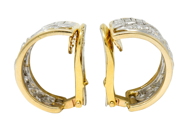 Wander France 2.00 CTW Diamond Platinum 18 Karat Gold J Hoop Earrings