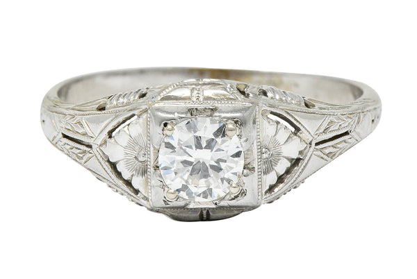 Art Deco 0.38 Diamond 18 Karat Gold Floral Engagement Ring