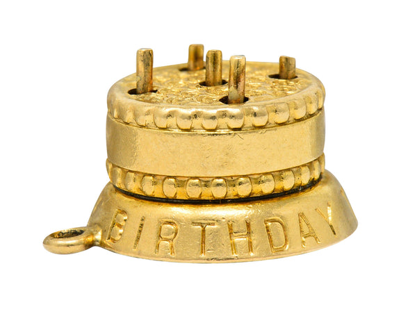1950's 14 Karat Gold Articulated Candle Birthday Cake Charm