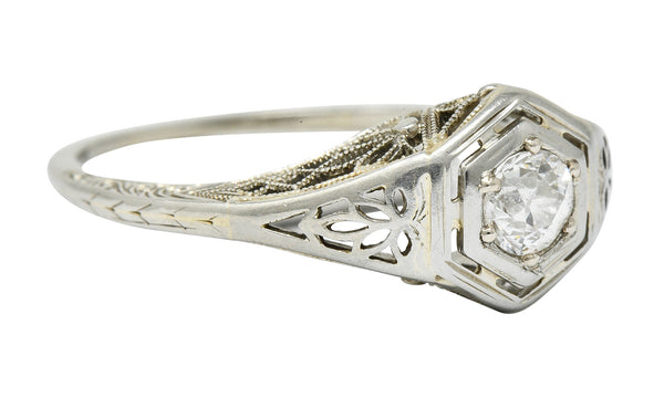 Belais Early Art Deco 0.26 CTW Diamond 18 Karat White Gold Floral Engagement Ring