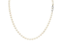 Mikimoto Vintage 1960's Cultured Pearls Silver Matinee Strand Necklace